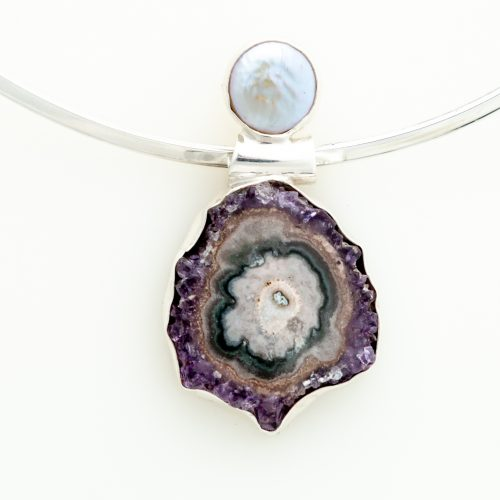 Stalactite and Coin Pearl Sterling Silver Pendant