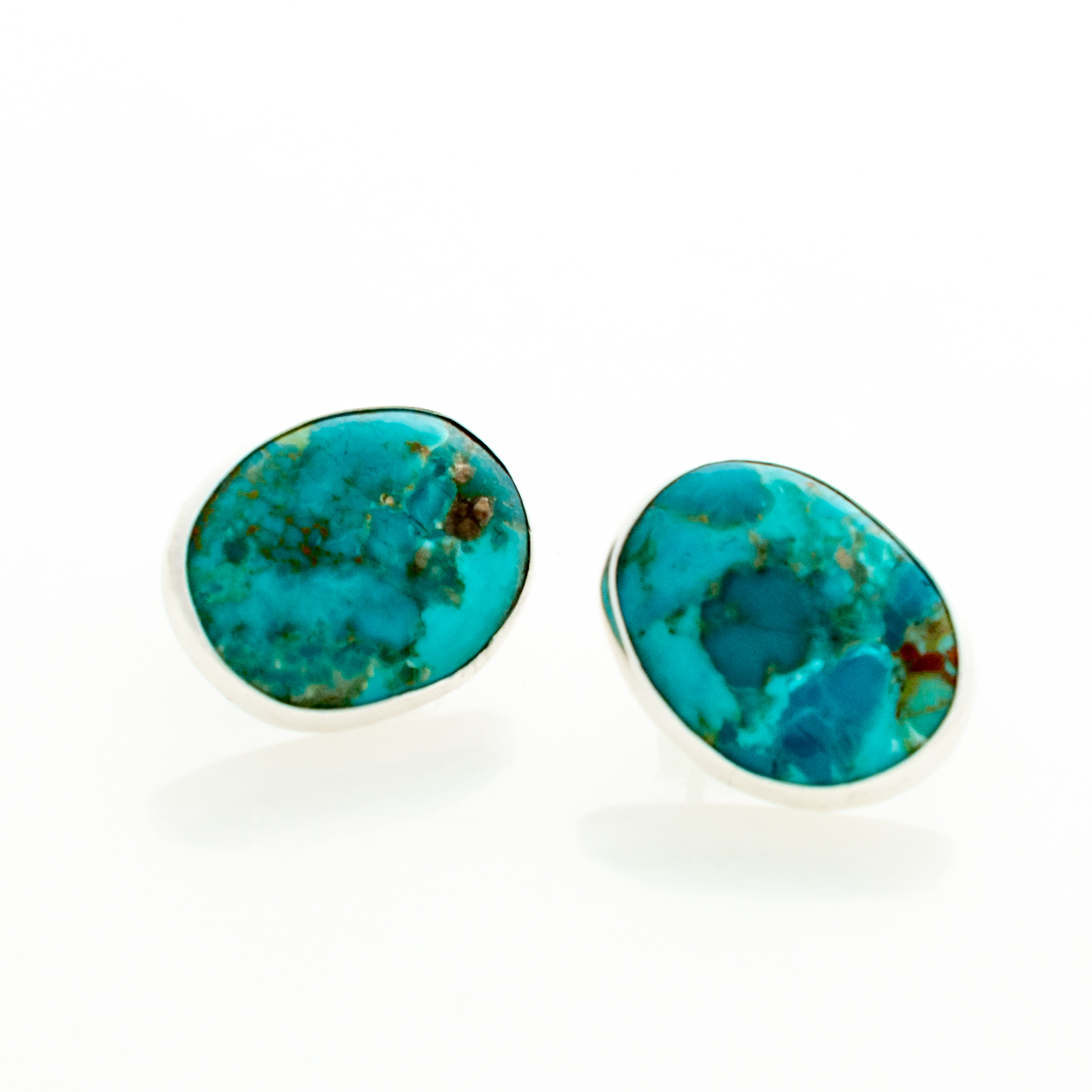 Turquoise Post Earrings in Sterling Silver