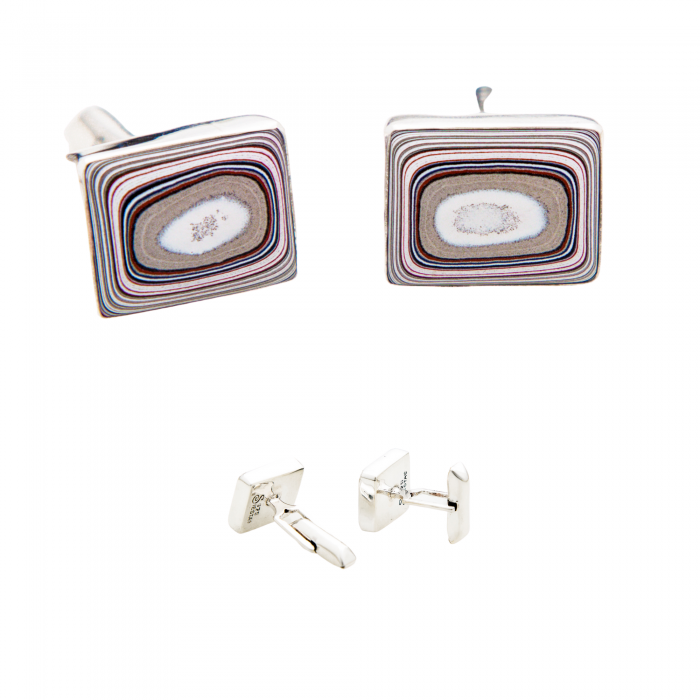 Fordite Cuff Links in Sterling Silver 6