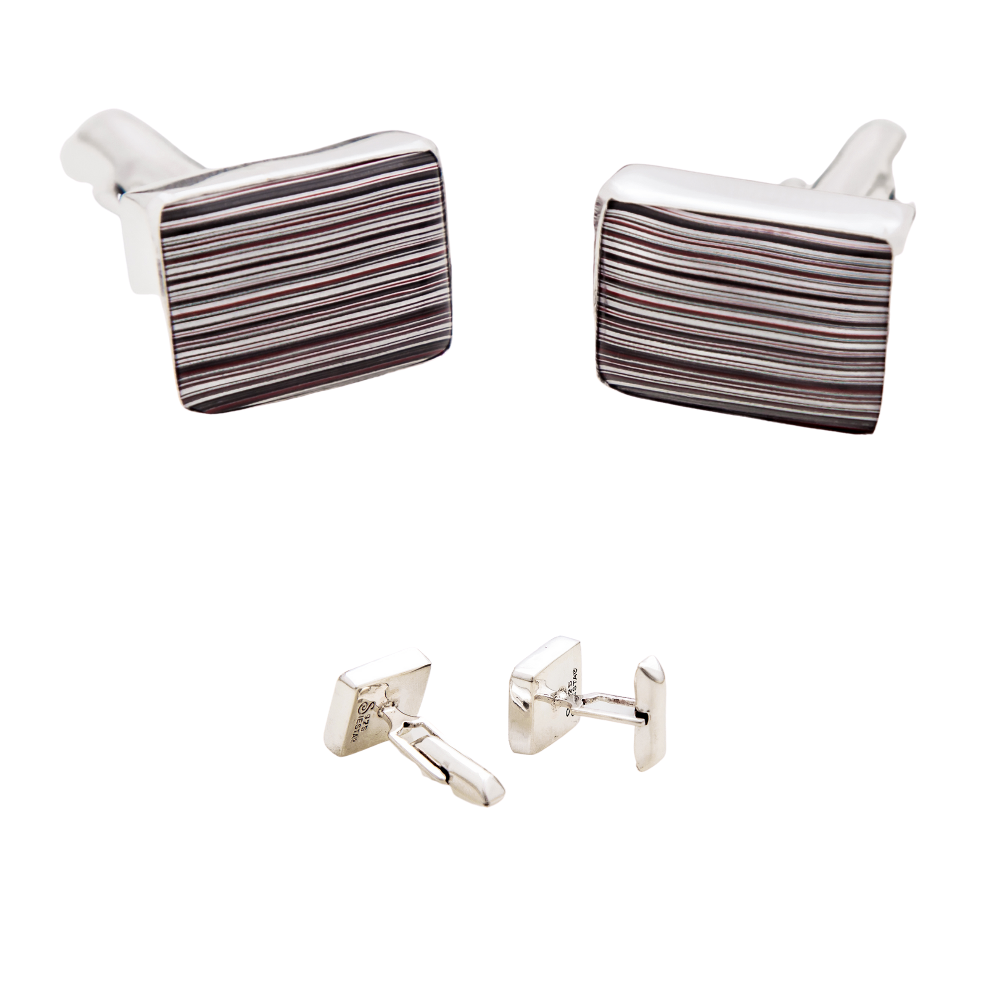 Fordite Cuff Links in Sterling Silver 7