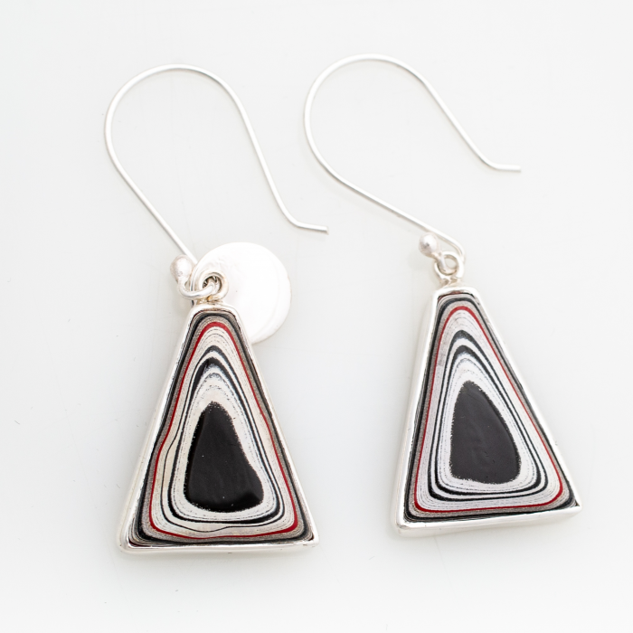 Fordite Hook Earrings in Sterling Silver