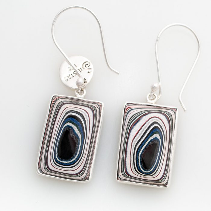 Fordite Hook Sterling Silver Earrings