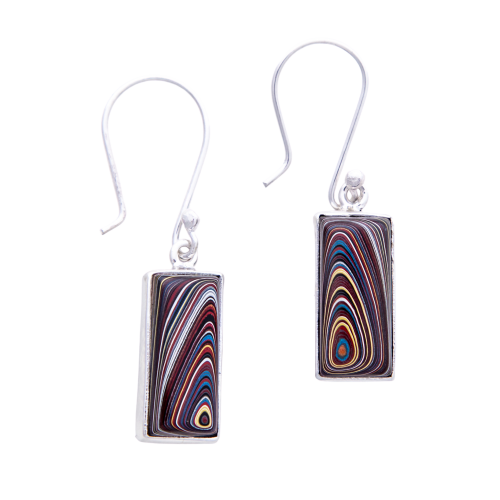 Fordite Corvette Paint Hook Earrings ECorvH0008