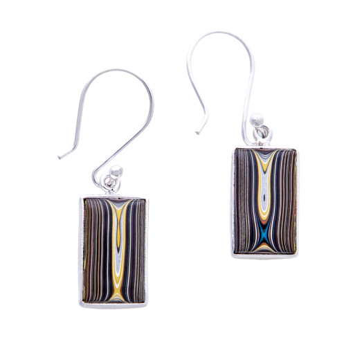 Fordite Corvette Paint Hook Earrings ECorvH0011