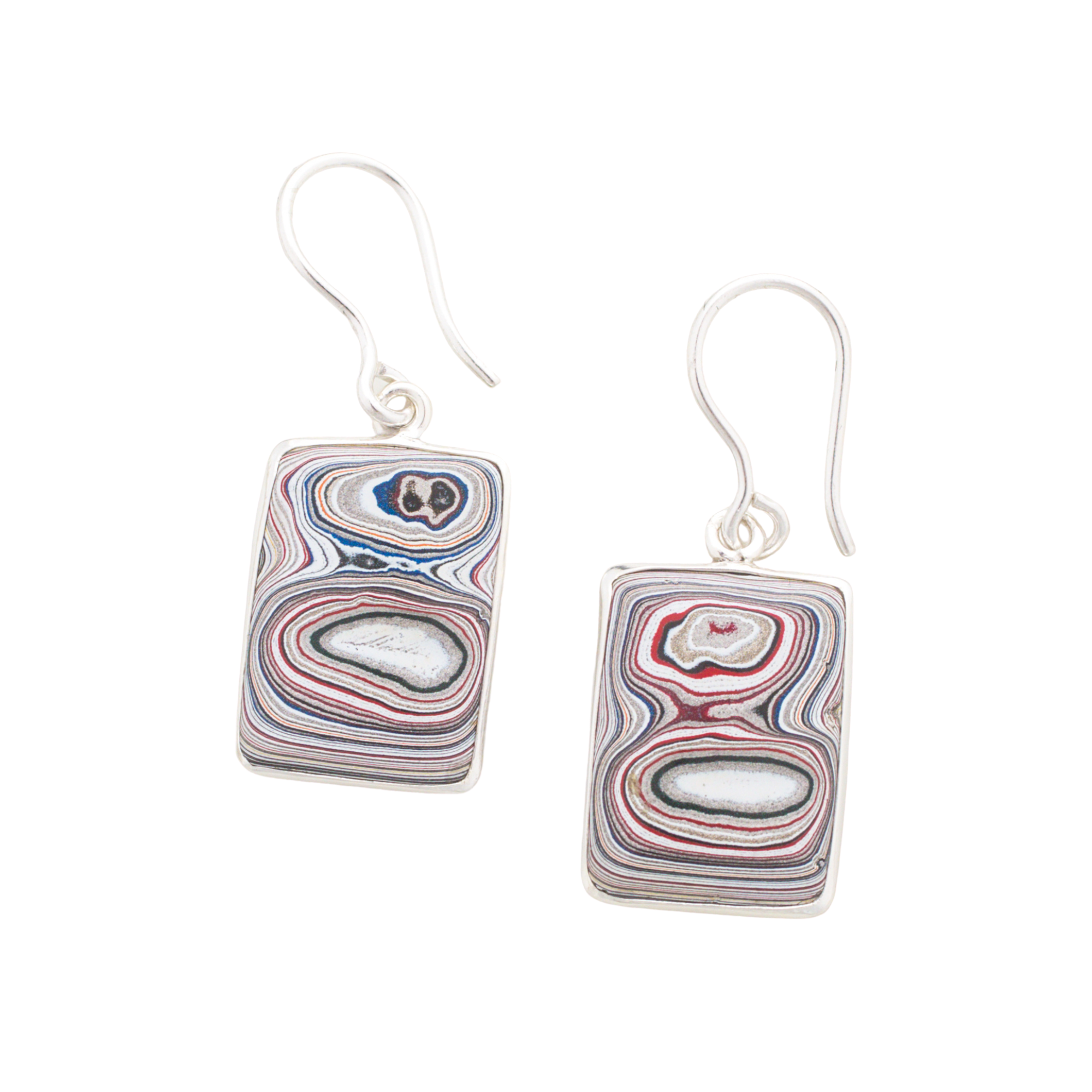 Fordite Hook Earrings in Sterling Silver EFMH0006