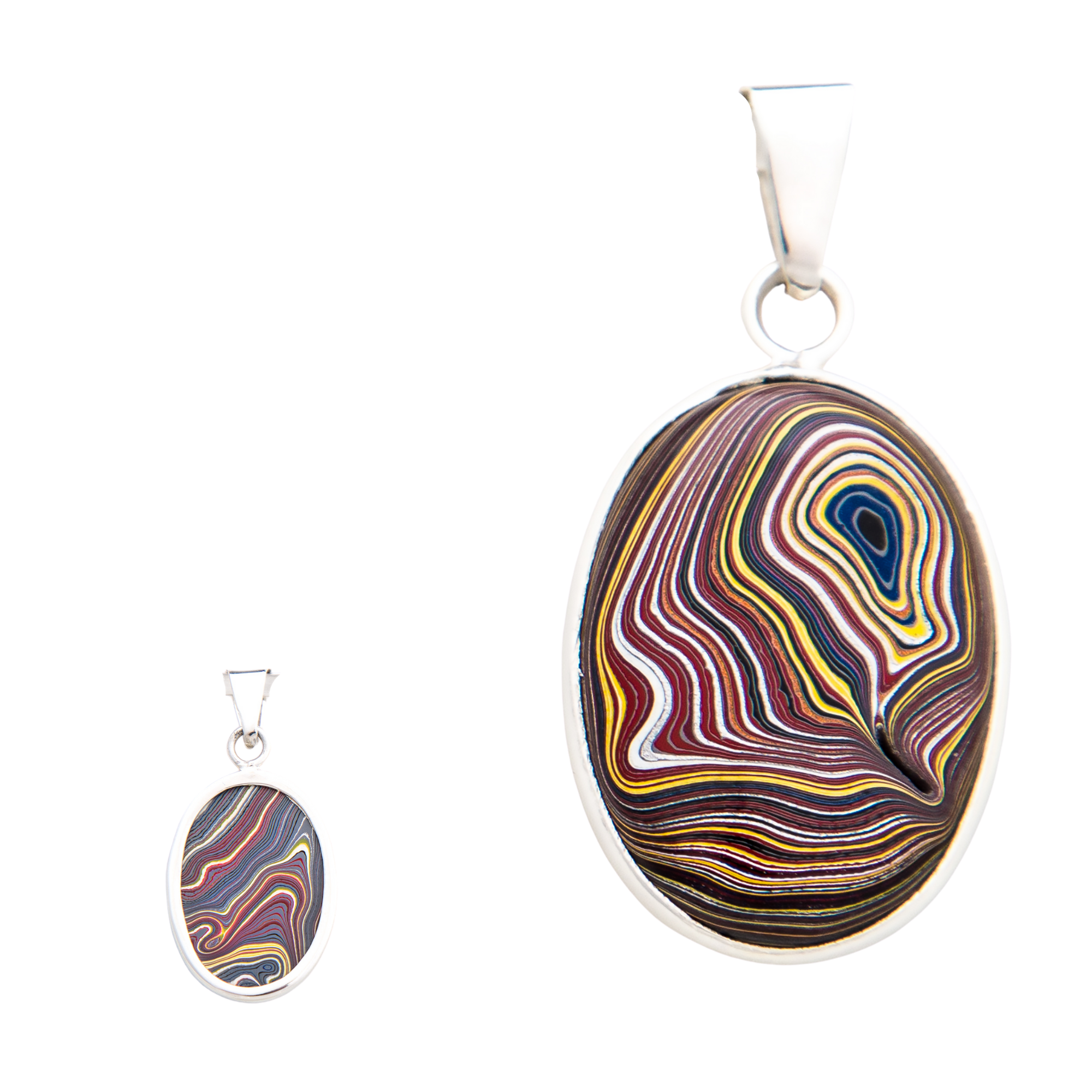 Fordite Corvette Paint Large Pendant in Sterling Silver Nickel Free Double Sided Detroit Agate Siesta Silver Jewelry