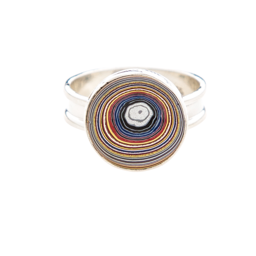 Fordite Corvette Paint Sterling Silver Ring 10A
