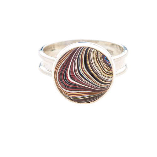 Fordite Corvette Paint Sterling Silver Ring 10B