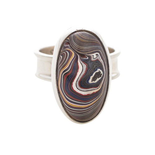 Fordite Corvette Paint Sterling Silver Ring 10D