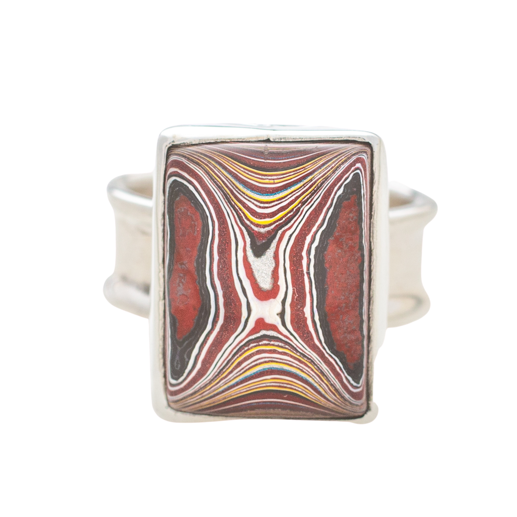 Fordite Corvette Paint Sterling Silver Ring 7F