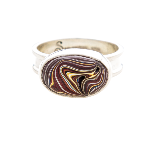 Fordite Corvette Paint Sterling Silver Ring 8A