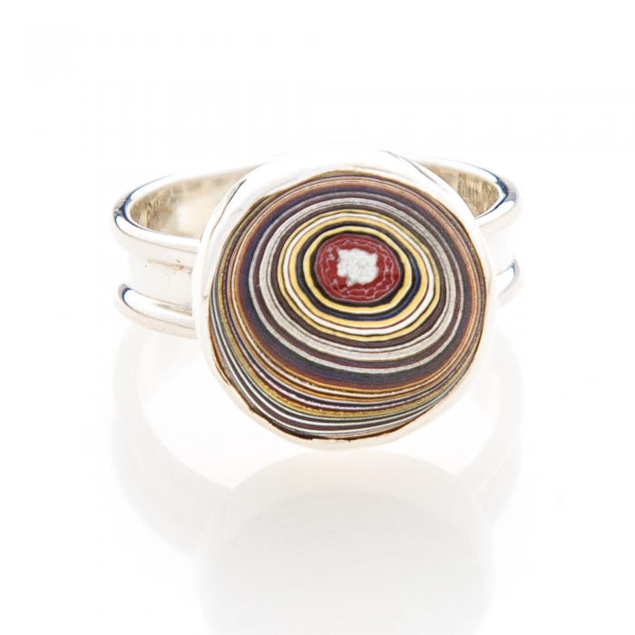 Fordite Corvette Paint Sterling Silver Ring 9A