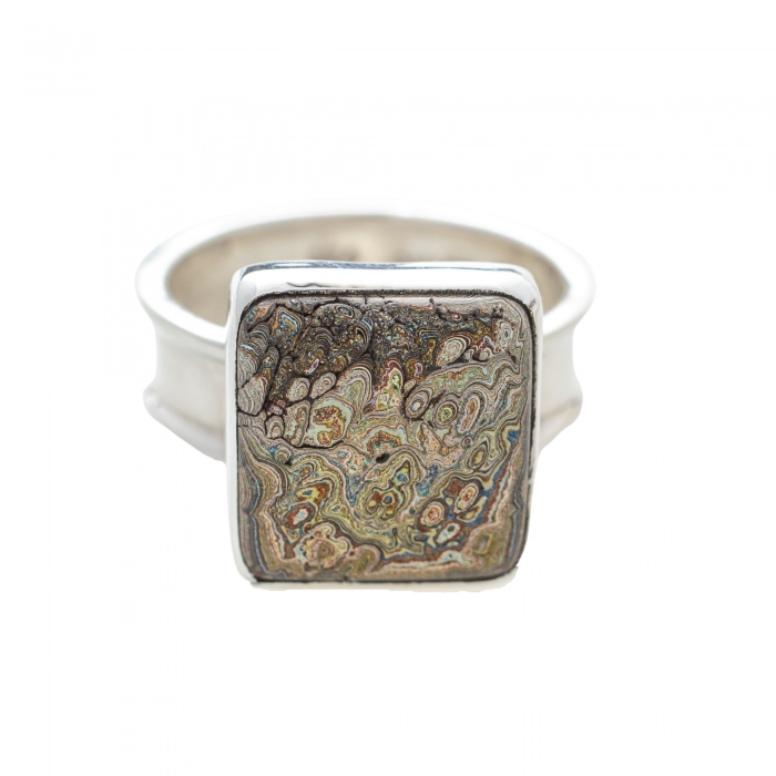 Vintage Fordite Sterling Silver Ring 10A