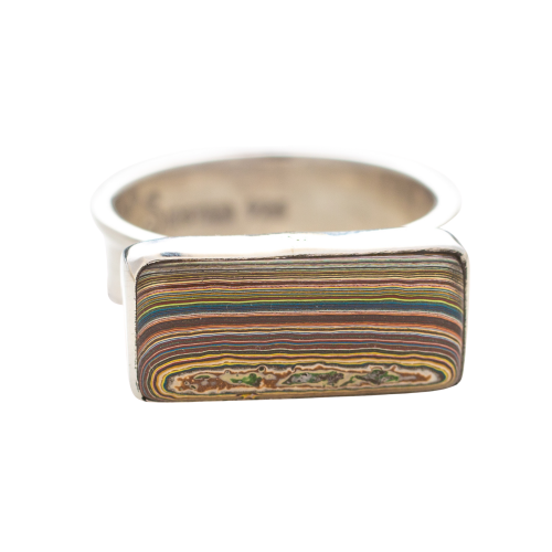 Vintage Fordite Sterling Silver Ring 11A