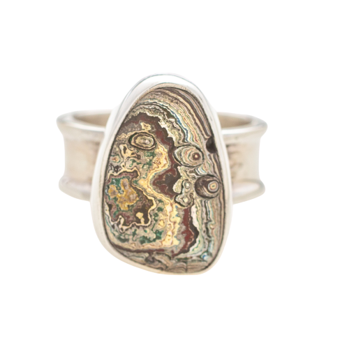 Vintage Fordite Sterling Silver Ring 6A