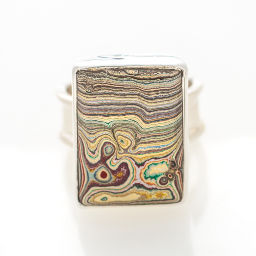 Vintage Fordite Sterling Silver Ring 7A