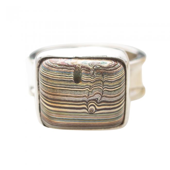 Vintage Fordite Sterling Silver Ring 7B