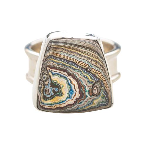 Vintage Fordite Sterling Silver Ring 7D