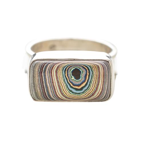 Vintage Fordite Sterling Silver Ring 8B