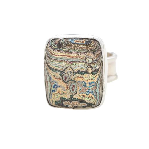 Vintage Fordite Sterling Silver Ring 8D