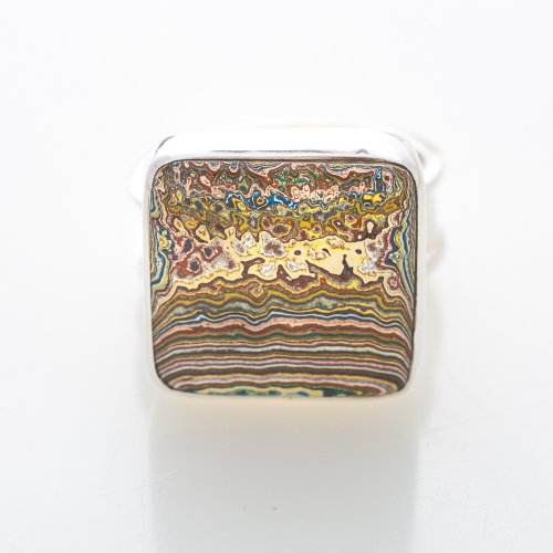 Vintage Fordite Sterling Silver Ring 9A