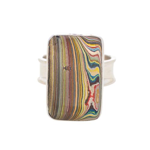 Vintage Fordite Sterling Silver Ring 9B