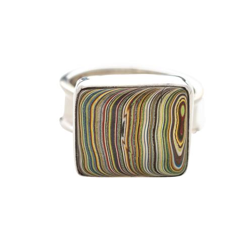 Vintage Fordite Sterling Silver Ring 9C