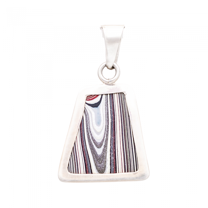 Fordite Sterling Silver Large Pendant Nickel Free Double Sided Siesta Silver Jewelry
