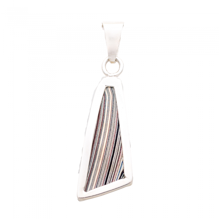 Fordite Sterling Silver Large Pendant Double Sided Nickel Free Detroit Agate Siesta Silver Jewelry