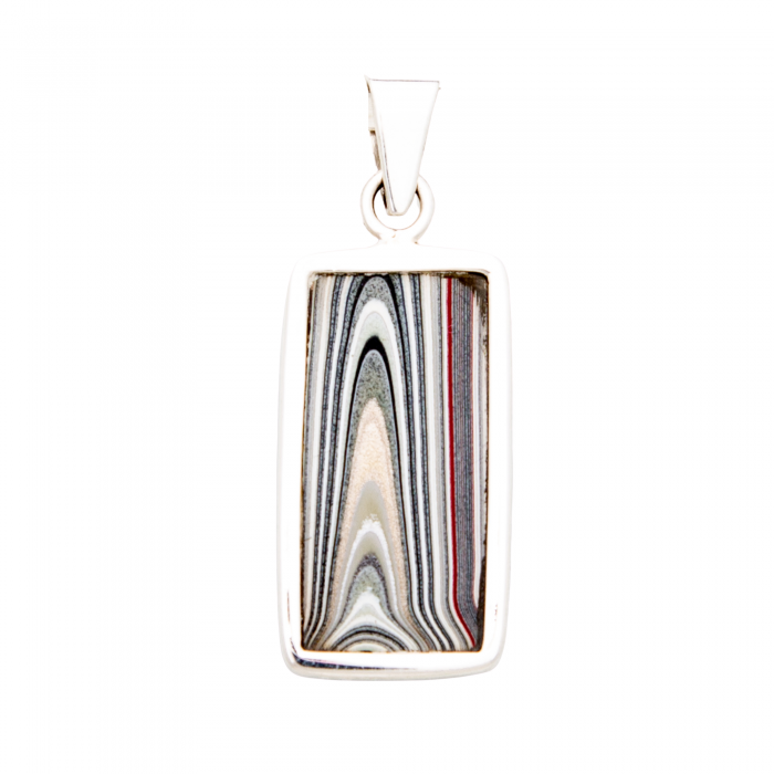 Fordite Large Sterling Silver Pendant Detroit Agate Nickel Free Double Sided Siesta Silver Jewelry