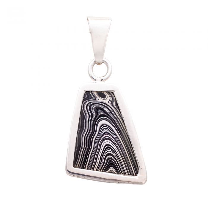Fordite Sterling Silver Medium Pendant Nickel Free Detroit Agate Siesta Silver Jewelry