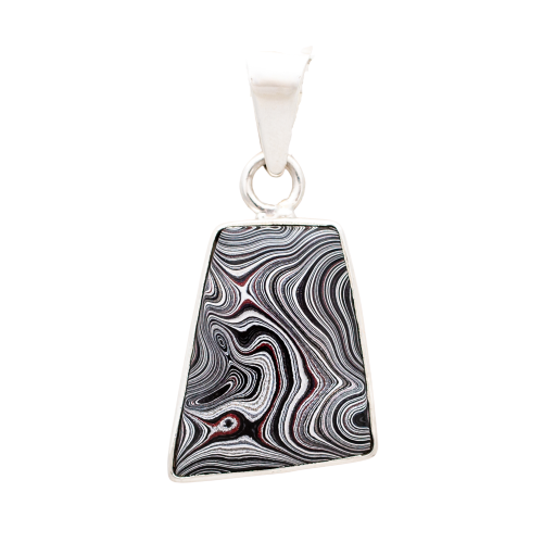 Fordite Medium Pendant in Sterling Silver Nickel Free Siesta Silver Jewelry Detroit Agate Upcycled Car Paint