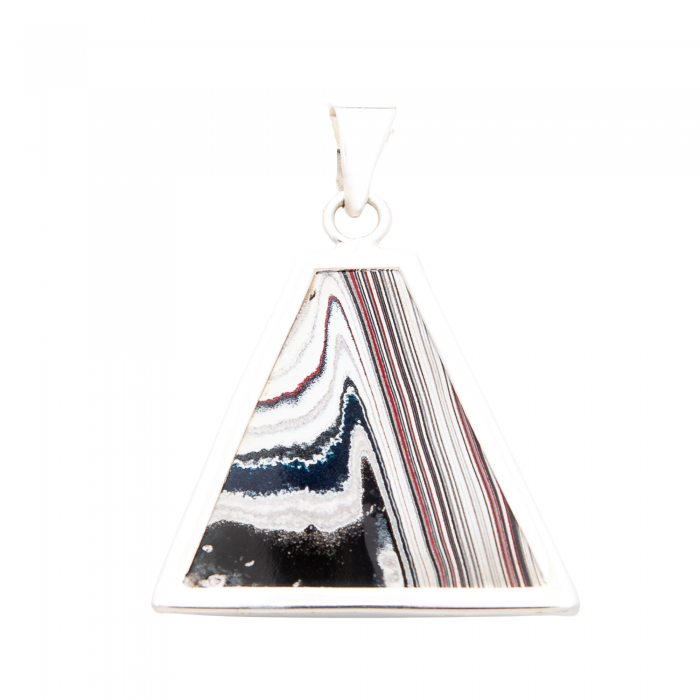 Fordite Sterling Silver Extra Large Pendant Nickel Free