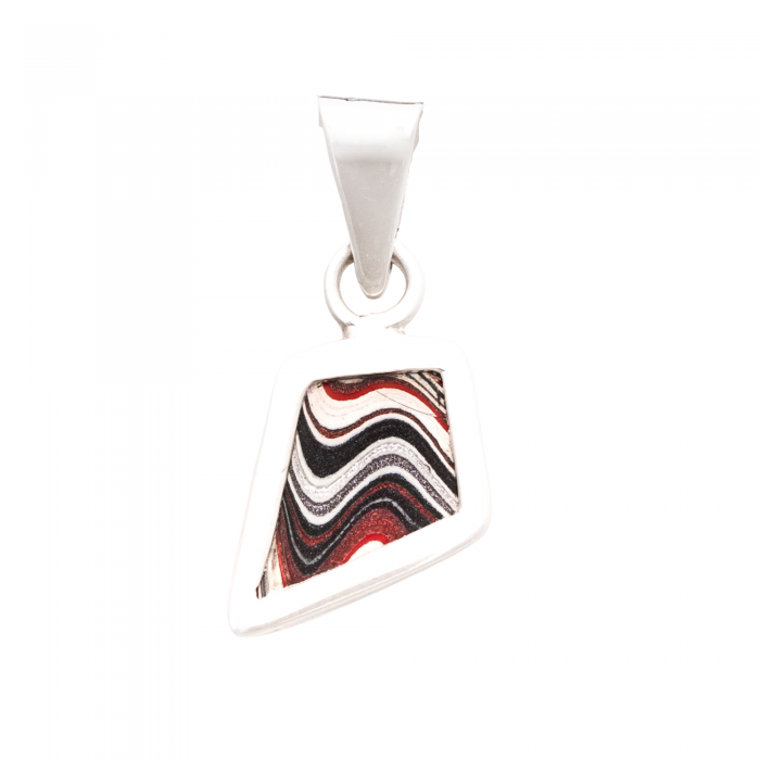Fordite XSmall Pendant in Sterling Silver Nickel Free Siesta Silver Jewelry Detroit Agate Upcycled Car Paint