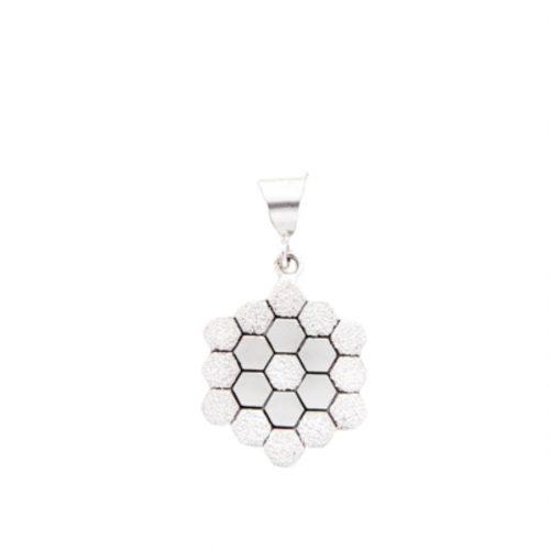Grandmother's Flower Garden Quilt Jewelry Medium Pendant in Sterling Silver Siesta Silver Jewelry