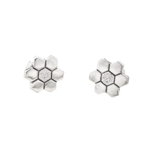 Grandmother's Flower Garden Quilt Jewelry Post Earrings Sterling Silver Siesta Silver Jewelry