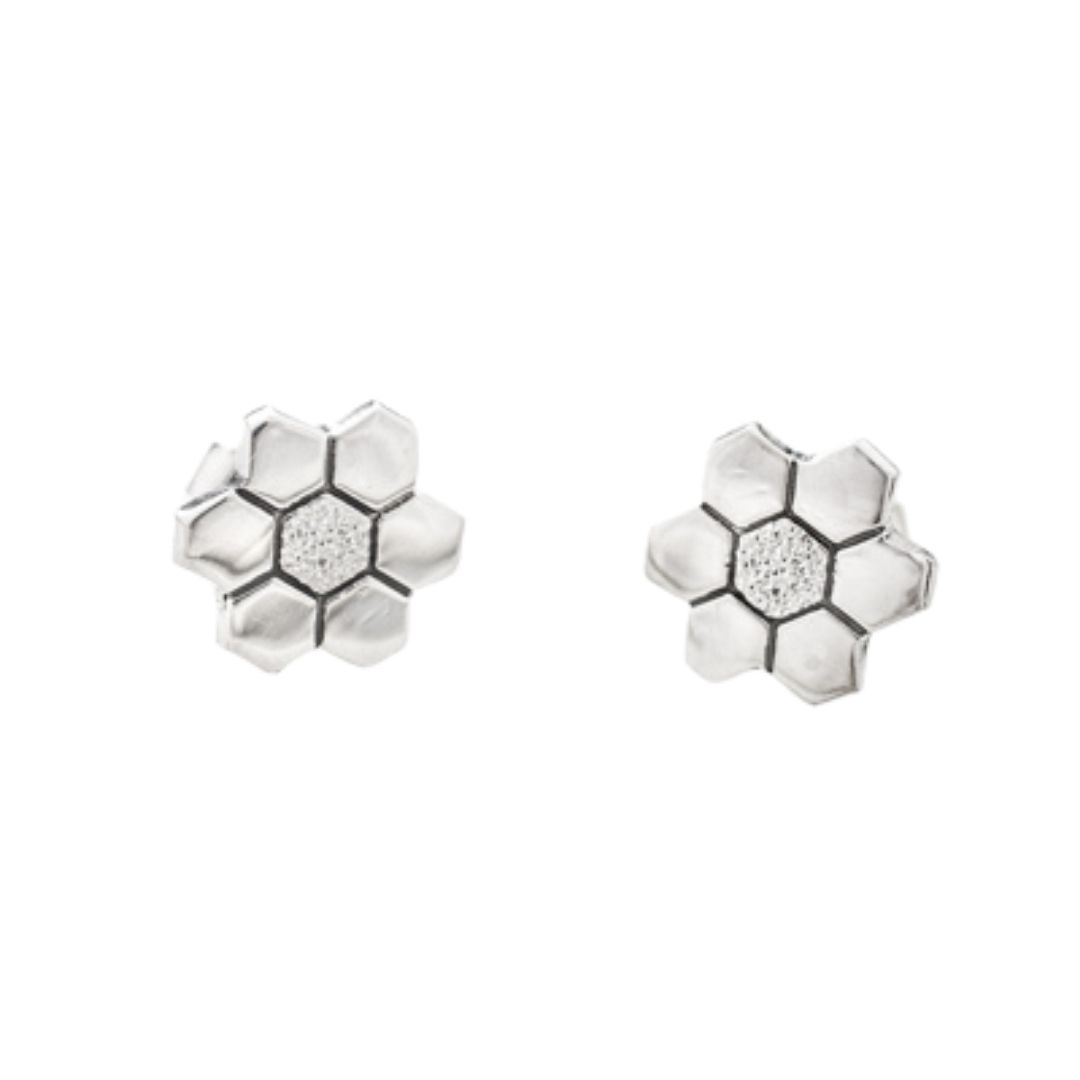 Grandmother's Flower Garden Quilt Jewelry Post Earrings Sterling Silver Siesta Silver Jewelry