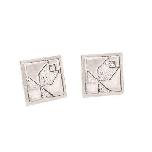 Tulip Quilt Jewelry Post Earrings in sterling silver Siesta Silver Jewelry