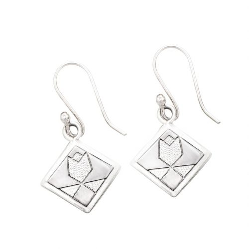 Tulip Quilt Jewelry Hook Earrings in Sterling Silver Siesta Silver Jewelry