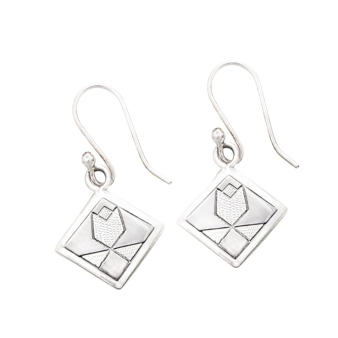 Tulip Quilt Jewelry Hook Earrings in Sterling Silver Siesta Silver Jewelry