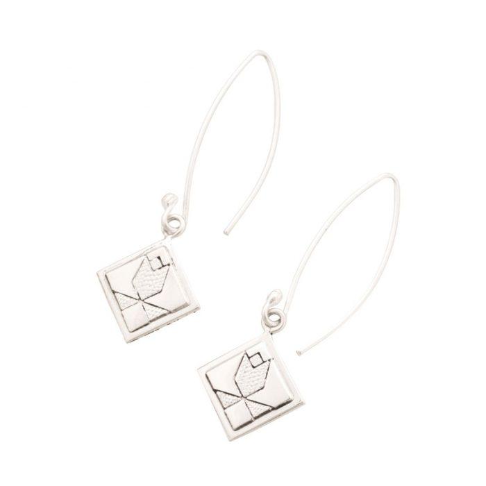 Tulip Quilt Jewelry Long Wire Earrings in sterling silver Siesta Silver Jewelry