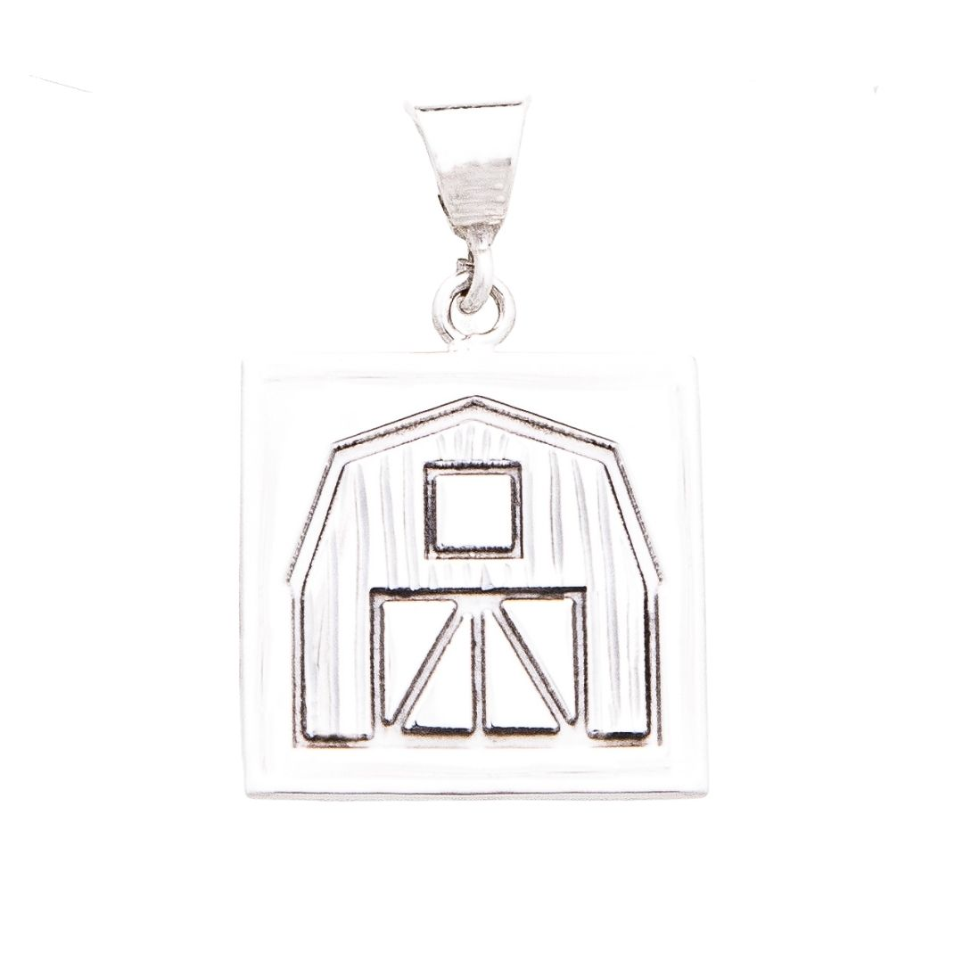 Quilt Barn Quilt Jewelry Medium Pendant in Sterling Silver Siesta Silver Jewelry