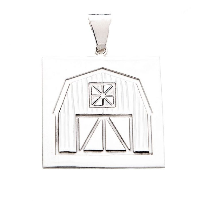 Quilt Barn Quilt Jewelry Large Pendant in Sterling Silver Siesta Silver Jewelry