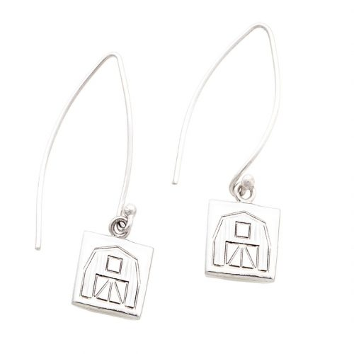 Quilt Barn Quilt Jewelry Long Wire Earrings in Sterling Silver Siesta Silver Jewelry