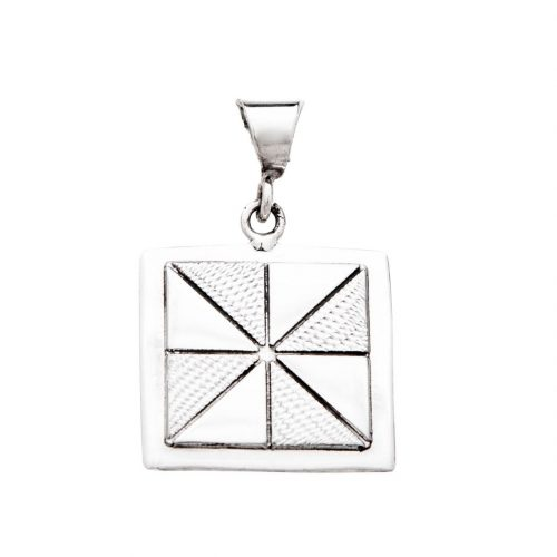Pinwheel Quilt Jewelry Medium Pendant in Sterling Silver Siesta Silver Jewelry