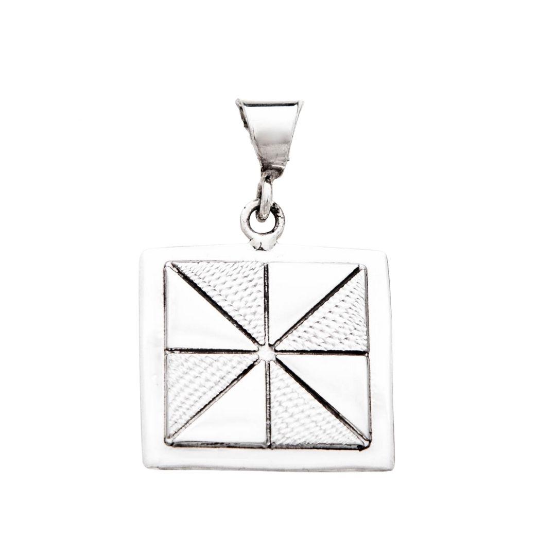 Pinwheel Quilt Jewelry Medium Pendant in Sterling Silver Siesta Silver Jewelry