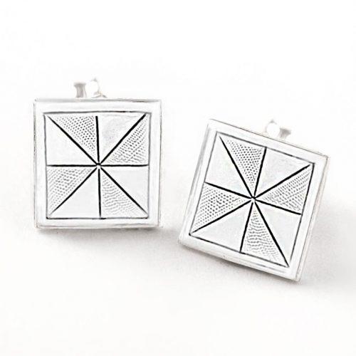 Pinwheel Quilt Jewelry Post Earrings in Sterling Silver Siesta Silver Jewelry