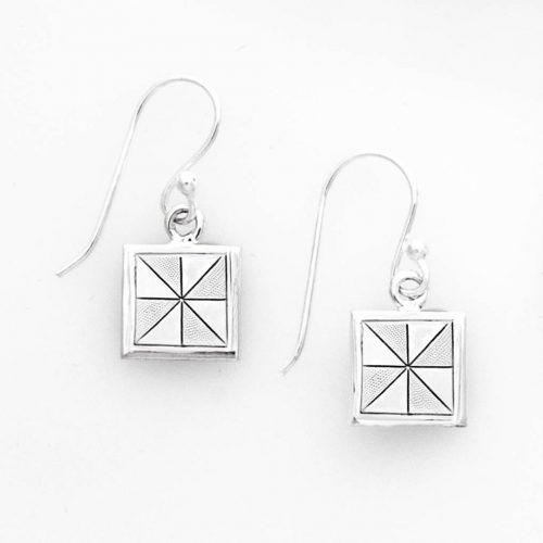 Pinwheel Quilt Jewelry Hook Earrings in Sterling Silver Siesta Silver Jewelry