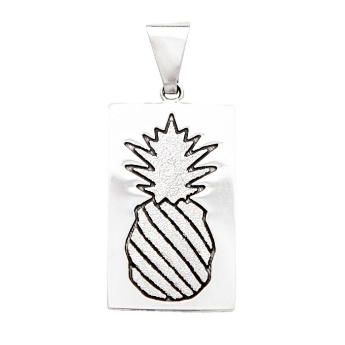 Crowned Pineapple Quilt Jewelry Large Pendant in Sterling Silver Siesta Silver Jewelry
