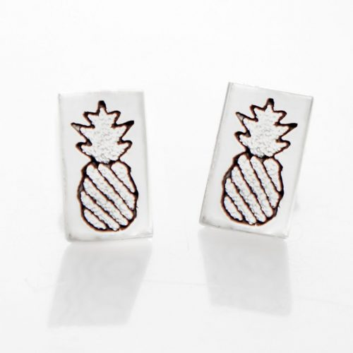 Crowned Pineapple Quilt Jewelry Post Earrings in sterling silver Siesta Silver Jewelry